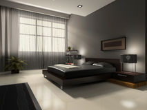 Interior to bedrooms. Modern interior in bedrooms with bed and closet Royalty Free Stock Images