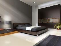 Interior to bedrooms. Modern interior in bedrooms with bed and closet Stock Images