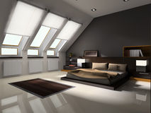 Interior to bedrooms. Modern interior in bedrooms with bed Royalty Free Stock Image
