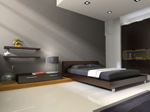 Interior to bedrooms. Modern interior in bedrooms with bed and closet Stock Photo