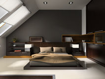 Interior to bedrooms. Modern interior in bedrooms with bed Royalty Free Stock Images