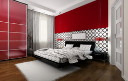 Interior to bedrooms. Modern interior in bedrooms with a bed Royalty Free Stock Images