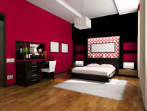 Interior to bedrooms. Modern interior in bedrooms with a bed Royalty Free Stock Photos