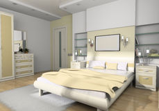 Interior to bedrooms. Modern interior in bedrooms with bed Royalty Free Stock Photography