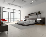 Interior to bedrooms. Modern interior in bedrooms with bed Stock Photo