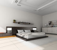 Interior to bedrooms. Modern interior in bedrooms with bed Royalty Free Stock Photos