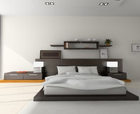 Interior to bedrooms. Modern interior in bedrooms with bed Stock Images