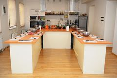 Interior to a big kitchen where everything is ready to cooking Royalty Free Stock Photography
