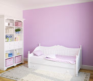 Interior of toddler room. Colorful interior of toddler room with white furniture and violet wall. 3d render vector illustration