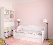 Interior of toddler room. Interior of toddler room with white furniture and pink wall. 3d render vector illustration