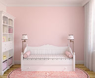 Interior of toddler room. Interior of toddler room with white furniture and pink wall. Frontal view. 3d render royalty free illustration
