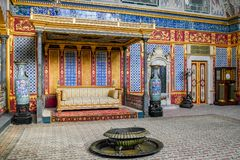 Interior of Topkapi palace in Istanbul. ISTANBUL, TURKEY - November, 2015: Interior of Topkapi palace in Istanbul royalty free stock photos
