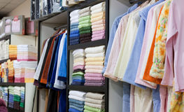 Interior of towels bath accessories shop Royalty Free Stock Image