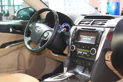 The interior of Toyota camry hev Stock Image