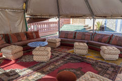 Interior of a traditional bedouin tent stock image