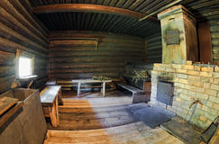 Interior of traditional russian wooden bath Royalty Free Stock Photo