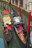 The interior of the traditional venetian gondola Royalty Free Stock Images