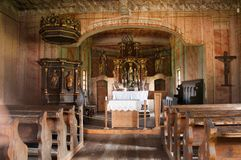 Interior of traditional wooden church Stock Image