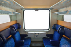 Interior of train and blank window Royalty Free Stock Photography