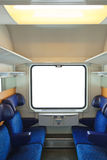 Interior of train and blank window Stock Images