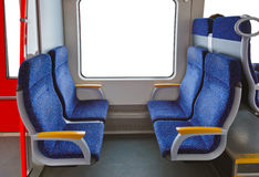Interior of train and blank window Stock Photography