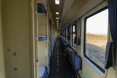 Interior of a train car stock photo