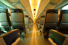 Interior of train in Finland. Wide angle,natural light Royalty Free Stock Images