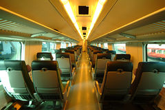 Interior of train in Finland. Daytime,no flash Stock Images