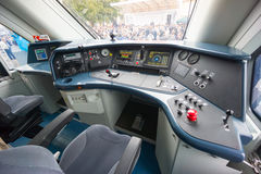 Interior of a train operator's cab Royalty Free Stock Photography