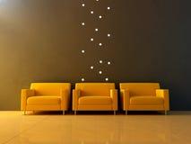 Interior - tres asientos amarillos en sala de espera ilustración del vector