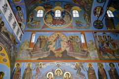 Interior of the Trinity cathedral in Pochaev Lavra, the painting Royalty Free Stock Photo