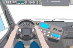 Interior of a truck with a driver. Driver in the cab of the truck on white background. Vector illustration Stock Photography
