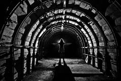 Interior of tunnel in abandoned coal mine Stock Photo