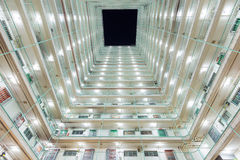 Interior of Twin tower type building in Hong Kong Royalty Free Stock Photo
