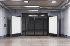 Interior with two ad billboards front. Front view of interior with two blank billboards suitable for advertising. Mock up, 3D Rendering Royalty Free Stock Images