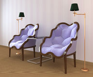 Interior with two armchairs. 3D interior scene with two armchairs Stock Photos