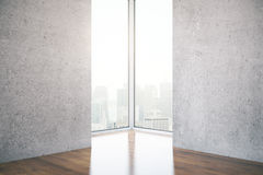 Interior with two concrete walls Royalty Free Stock Photography