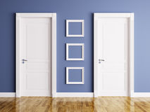 Interior with two doors and frames Stock Photos