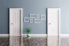 Interior with two doors and frames Royalty Free Stock Photos