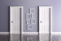 Interior with two doors and frames Stock Photo