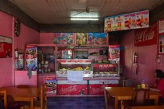 Interior of Typical Fijian Indian restaurant serving Fijian dishes with heavy Indian influence flavour Stock Photos