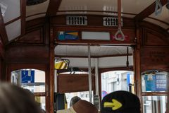 Typical Public Lisbon Tram Indoors. Interior of Typical Old Tram in Lisbon, Portugal royalty free stock images