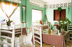 Interior typical restaurant Caribbean St. Lucia Stock Photos
