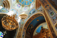 Interior of Ukrainian Greek Catholic church. Decorated with gold and fresco church central part in Nadvirna city Stock Photography