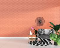 Interior umodern falso de la sala de estar con la decoración de la butaca y plantas verdes en el fondo anaranjado de la pared de  libre illustration