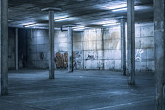 Interior of an undercover parking area Royalty Free Stock Image
