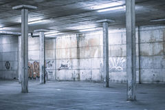 Interior of an undercover parking area Royalty Free Stock Photo