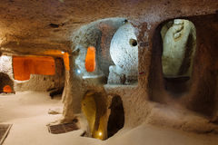 Interior of underground city in Cappadocia, Turkey Royalty Free Stock Photos