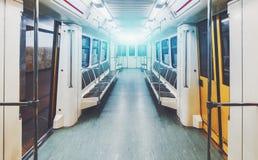 Interior of underground railway car Stock Photos