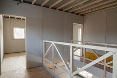 Interior of unfinished prefabricated house Stock Photo